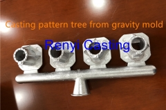 Casting pattern tree from gravity mold upper view