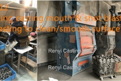 Step 11 Grinding casting mouth & shot blasting casting