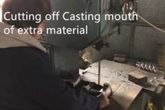Cutting off casting mouth of extra material